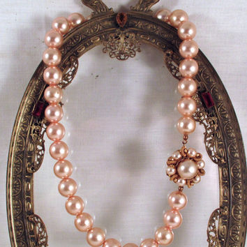 """Vintage MIRIAM HASKELL NECKLACE Single Strand Champagne Faux Pearl Necklace 16.5"""" Long Signed Miriam Haskell"""