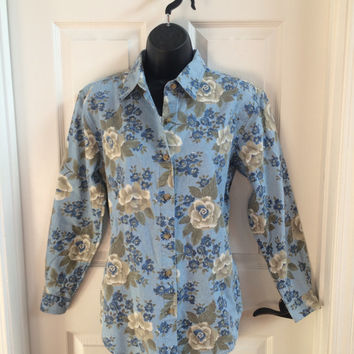 Vintage 90s Denim Shirt / Floral Shirt / Blouse / Small
