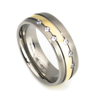 Men's titanium ring Gold plated for wedding