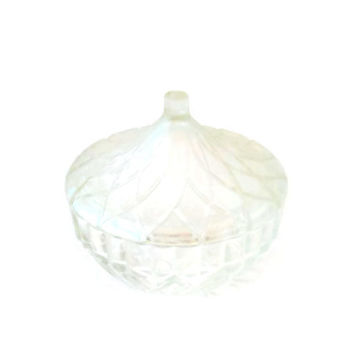 KIG Indonesia Covered Candy Dish / Cut Crystal Candy Dish Lidded / Hersey Kiss or Tear Drop Bowl