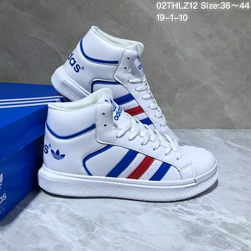 KUYOU A427 Adidas Hoops 2.0 Leather High Fashion Casual Skate Shoes White Blue Red