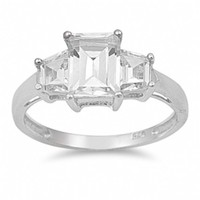 Gabrielle's 3 Stone Sterling Silver Emerald Cut CZ Engagement Ring