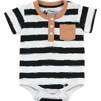 Black & White Stripe Button-Front Bodysuit - Infant