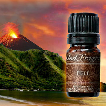 PELE Perfume Oil: 5mL Amber Bottle, 10mL Roll-on Bottle, Exotic Tropical Fruit, Artisan Fragrance, Alcohol Free