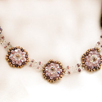 Swarovski pearl necklace beaded choker necklace in mauve lilac, cream and pink
