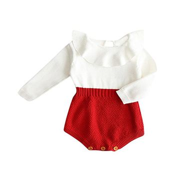 Baby Rompers Newborn Baby Girl Wool Knitted Top Peter Pan Collar Romper Long Sleeve Autumn Winter Outfits Baby Clothing 0-24M
