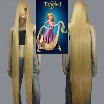HOT! Disney Movie Tangled Rapunzel long blonde cosplay wavy wig 150cm