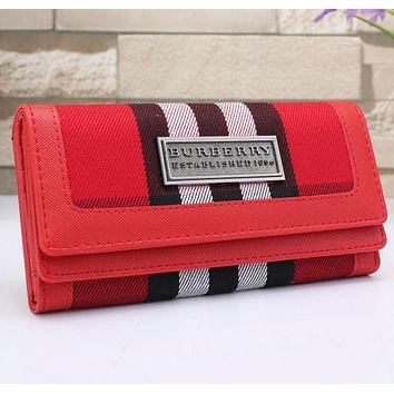 Burberry Popular Women Leather Buckle Wallet Purse Red I/A