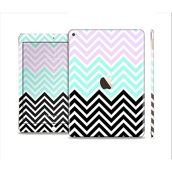The Light Teal & Purple Sharp Black Chevron Skin Set for the Apple iPad Air 2