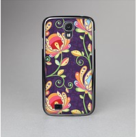 The Dark Purple & Colorful Floral Pattern Skin-Sert Case for the Samsung Galaxy S4