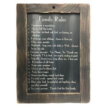 Family Rules Blackboard