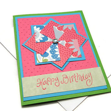 Happy Birthday, Handmade Greeting Card, Pinwheel, Lime Green Hot Pink and Turquoise, Embossed