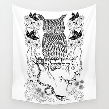 Owl tapestry, bohemian wall tapestry, hippie tapestry, boho tapestry, animal wall art, wall hanging