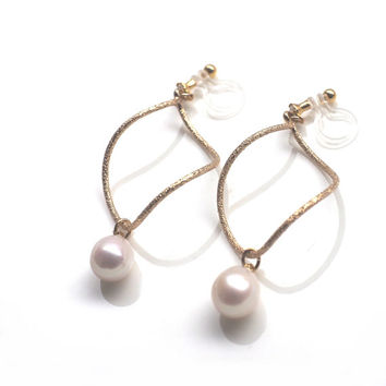 Freshwater Pearl Clip On Earrings Natural Pearl Invisible Clip On Earrings Clip On Twisted Gold Hoop Clip Earrings Non Pierced Earrings