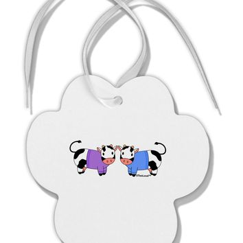 Cute Pair of Sweater Cows Paw Print Shaped Ornament