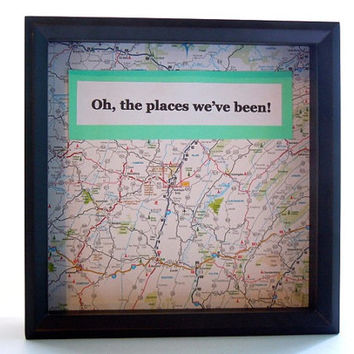 Travel Theme Shadow Box Ticket Holder - Ticket Box - Drop Top Shadow Box - Map Frame - Ticket Display - Customized Gift - Gift for Traveler