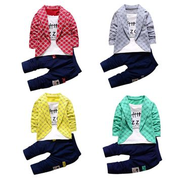 2pcs boys set Toddler Baby Boys Kids Shirt Tops+ Long Pants Clothes Outfits Gentleman Set clothes set summer 2017 Drop ship