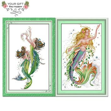Your Gift R189(1)(2) Counted and Stamped Home Decor The Mermaid Needlework Needlepoint Cross Stitch kits