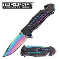 Tac-Force Rainbow Blade Rescue Spring Action Assist Assisted Knife Knives #509