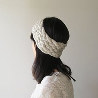 Knit Headband in Ivory, Braided Knit Headband, Knit Ear Warmer, Wool Blend, Winter Accessories, Gift for Her, Made to Order