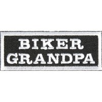 "Embroidered Iron On Patch - Biker Grandpa 3"" x 1.25"" Patch"