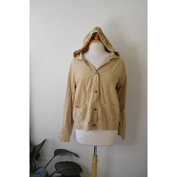 Vintage Crazy Horse Tan Hooded Chore Jacket