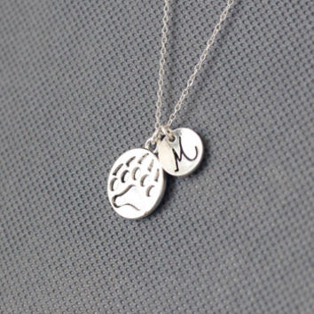 Bear Paw Charm Necklace. initial necklace. Personalized Initial Necklace. gift for friend sister mom he.r No59