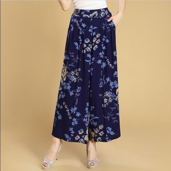 Summer slim fluid wide leg pants female trousers fancy plus size print wide-leg pants