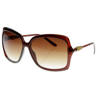 Designer Inspired Square Womens Oversize Sunglasses w/ Wood Detail Arms 8151