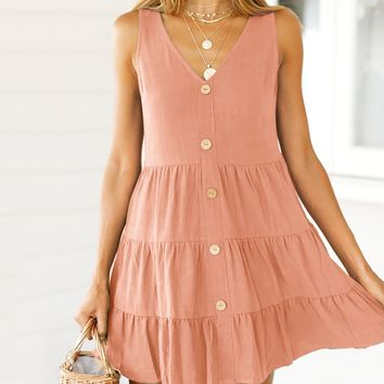 Summer Newest Fashionable Women Pure Color Sleeveless Sling Cake Dress Pink
