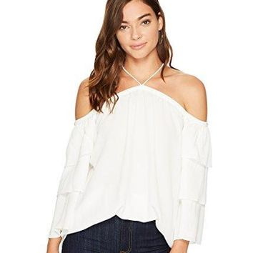 1.State Womens Cold Shoulder Tiered Sleeve Blouse
