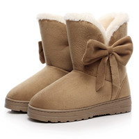2016 NEW Women Winter Boots Warm Women Shoes Ankle Snow Boots Female Australia Bowtie Suede Botas mujer