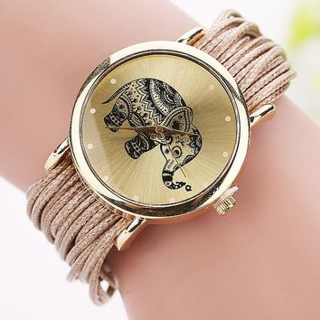 Fashion Elephant Gold Casual Analog Quartz Watch Wristwatch