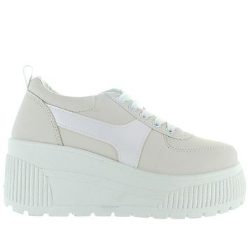 Coolway Luan - White Chunky High Platform/Wedge Lace Sneaker