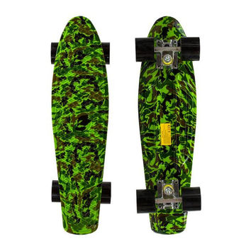 "22"" Complete Plastic Penny Style Street Print Skateboard - light green camo"