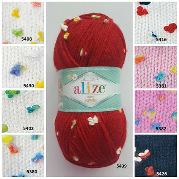 alize baby FLOWER yarn, baby yarn, butterfly yarn, fancy yarn, winter yarn, hand knitting yarn, flower yarn, crochet yarn, hypoallergenic