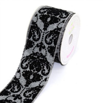 Canvas Ribbon with Flock Damask, 2-1/2-inch, 10-yard, Grey
