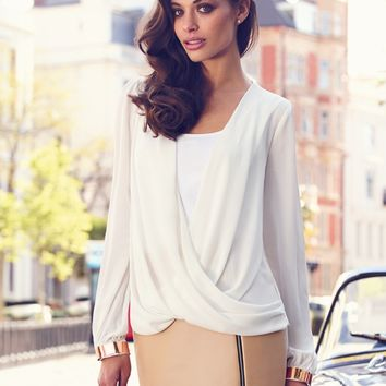 Lipsy Wrap Front Blouse - white long sleeve blouse
