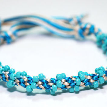 Beaded Kumihimo Bracelet Teal Blue Water Jewelry