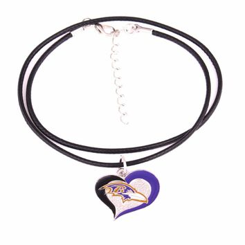 Drop shipping Fans collection single-sided enamel Swirl Heart Baltimore Ravens Football Team logo with Leather chain necklace