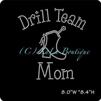 Drill team Mom Iron on Hotfix Rhinestone Transfers - DIY cheer transfer for shirts and tees - The Real Moms of dance