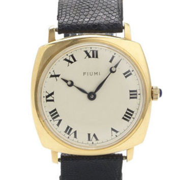Pre-Owned Unique Fiumi Gold Watch - Cartier Strap - Cabochon Blue Sapphire Crown