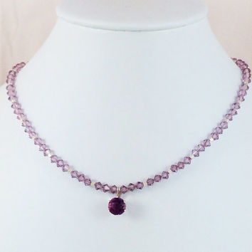 Round Faceted Pink Sapphire Pendant with Pink Swarovski Crystals and Sterling Silver Twisted Tube Beads -- Product N054