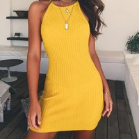Fitted & Ribbed Casual Halter Dress