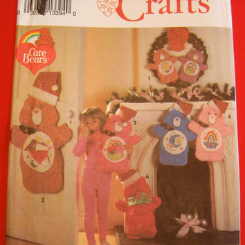 Care Bears Christmas Stocking Stuffed Animal Wreath Sewing Pattern UNCUT Simplicity 8161