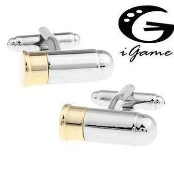 Men Gift Bullet Cuff Links &retail Gold-color Copper Material Novelty Can Be Opened Bullet Army Design
