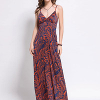 Orange V-neck Floral Paisley Print Cami Maxi Beach Dress