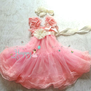 Flower Girl's Dress/ Girl's Bubblegum Pink Chiffon Lace Dress set