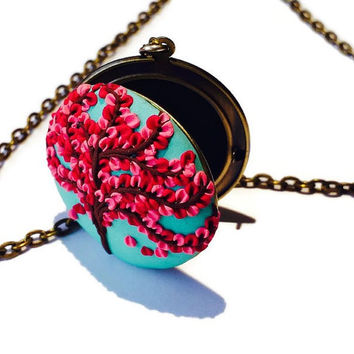 Mothers Day Necklace Turquoise Locket Necklace Cherry Blossom Locket Clay Necklace Floral Locket Bohemian Hippie Locket Spring Jewelry