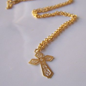 Etsy,  REDUCED, Cross Necklace: Filigree Gold Cross Necklace, Etsy Jewelry, Vintage, Jewelry, Jewelry, Gift